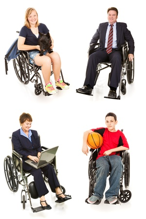 Collection of disabled people in wheelchairs, man, woman, teen boy, and teenage girl.  All full body isolated on white.