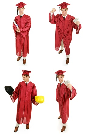 Multiple views of a young high school or college graduate.  Multiple views, full body, isolated on white.   photo