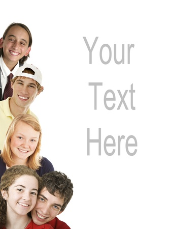 diverse teens: Diverse smiling teenagers, arranged as border, with copyspace.  All have beautiful teeth.  Isolated on white.