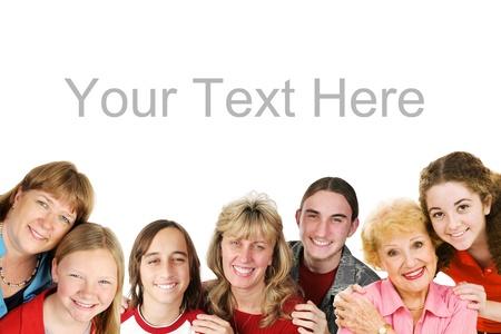 composite: D�a la frontera tem�tica de la Madre. Los ni�os con su mam� y la abuela. Imagen compuesta aislado en blanco con espacio para texto.