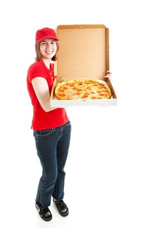 teen girl brown hair: Teenage girl or young adult has a job delivering pizza.  Full body isolated on white.   Stock Photo