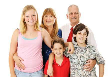 Beautiful happy blended family - father, mother, two boys, and a girl.  Boys belong to the dad, girl to the mom.   Full body isolated against a white background.   photo