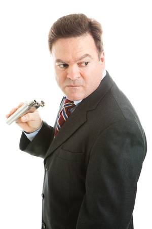 sneaks: Middle-aged businesman sneaks a drink from a flask.  Isolated on white.   Stock Photo