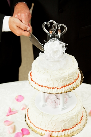 homosexuals: Closeup of a wedding cake topped with two grooms, being cut by two mens hands.
