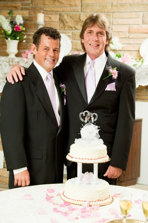 Handsome gay couple at their wedding reception, getting ready to cut the cake.   photo