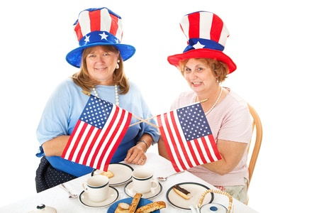 conservative: Two conservative American voters sitting down to a tea party.