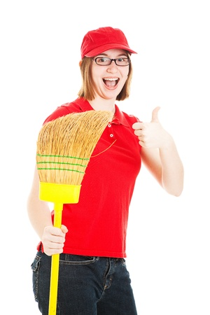 first job: Teenage girl holding a broom, excited about her first job.  Isolated on white.
