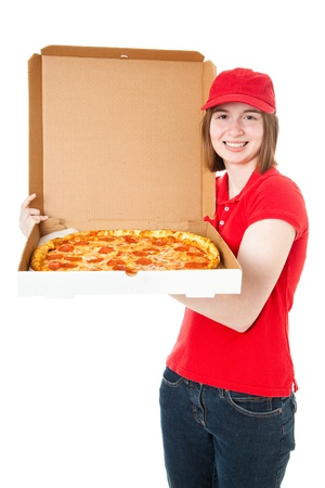Teenage girl delivering fresh, hot pepperoni pizza. Isolated on white. photo