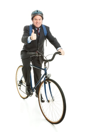 energy work: Businessman bicycling to work and giving a thumbs up for energy efficiency.  Full Body isolated on white.   Stock Photo