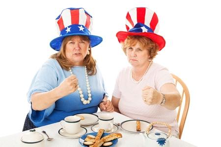 erhaltend: Amerikanischen konservativen Tea-Party-W�hler k�mpfen verr�ckt. Isoliert auf Wei�. Lizenzfreie Bilder