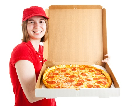 pizza delivery: Teenage girl has her first job, delivering pizza.
