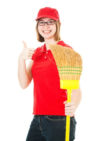 Friendly teenage girl with glasses, holding a mop and giving the thumbs up sign.   photo
