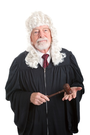 judges: British style judge wearing a wig   Isolated on white