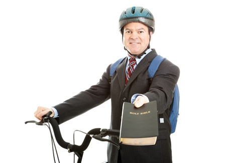 mormon: Bicycle salesman or missionary handing you a copy of the bible.  Isolated on white.