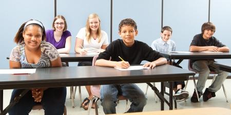 public school: Diverse group of teenage school children in class.  Wide angle banner.