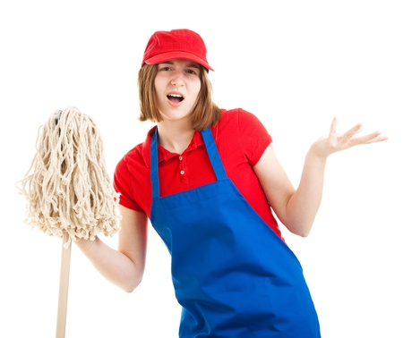 Teenage worker with a bad attitude, holding a mop   Isolated on white  photo
