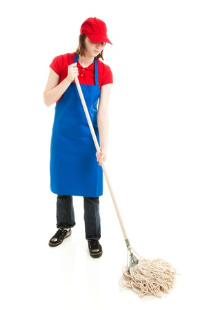 Teenage girl in service uniform mopping.  Full body isolated on white.   photo