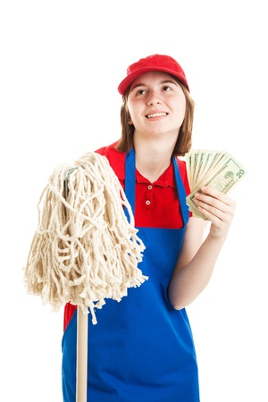 first job: Young adult or teenage girl daydreams about the money shell make working.  Isolated on white.   Stock Photo