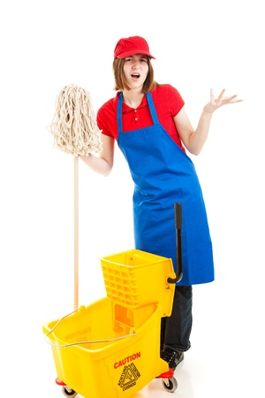 first job: Frustrated teenage worker stand holding her mop and bucket.  Isolated on white.