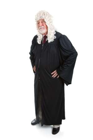 judges: Full body isolated view of a British judge in a wig.   Stock Photo