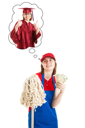 Teenage girl works manual labor job to save money for college.  Isolated on white.   Stock Photo - 14778800