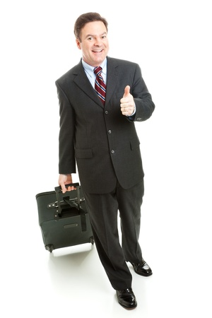 Business traveler giving a thumbs up.  Full body isolated. Stock Photo - 14943242