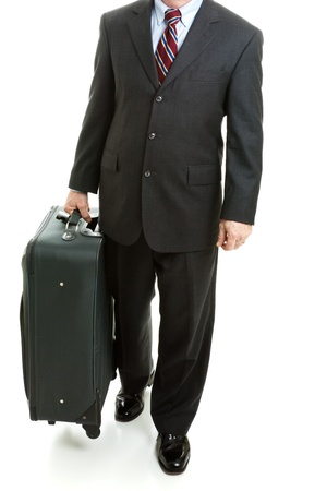 Business traveler with his suitcase, isolated on white background.