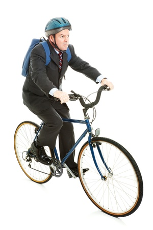Businessman saving gas and money by riding his bicycle to work.  Full body isolated.   photo
