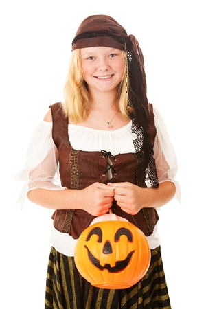 Pretty teenage girl dressed as a pirate for Halloween.  Isolated on white.   photo