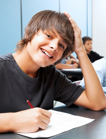 Friendly, smiling adolescent boy in school classroom. Stock Photo - 15563468