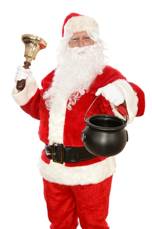 bucket of money: Santa Claus rings a bell and collects money for charity.  Isolated on white.    Stock Photo