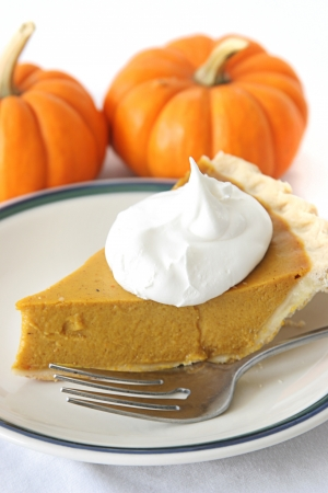Slice of delicious holiday pumpkin pie garnished with a dollop of whipped cream.   photo