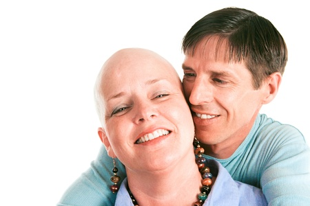 Female cancer survivor posing with ther loving husband.   Stock Photo
