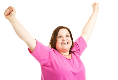 overjoyed: Pretty plus size woman overjoyed to reach her fitness goals.  Isolated on white.