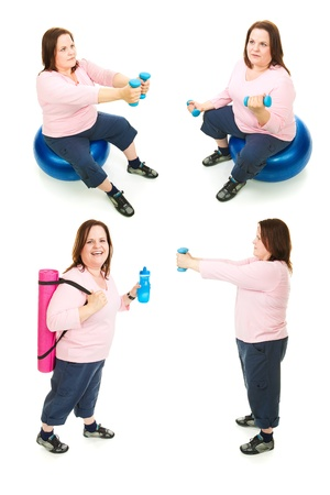 Four full body views of a pretty, plus-sized woman exercising.  Isolated on white. photo