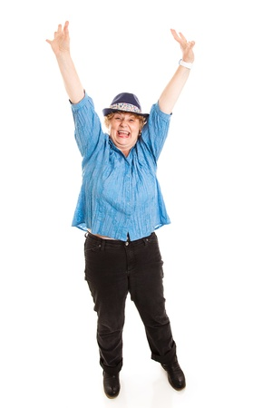 possibly: Pretty middle-aged woman overjoyed, possibly by recent weight loss.  Full body isolatled on white.   Stock Photo