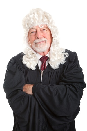 Portrait of a British style judge with wig.  Isolated on white.   photo