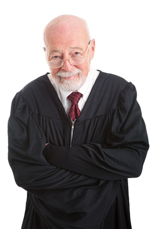 competent: Portrait of a friendly, competent judge, isolated on white.