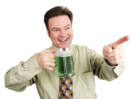 st  patrick s day: Irish American guy drinking beer to celebrate St  Patrick Stock Photo