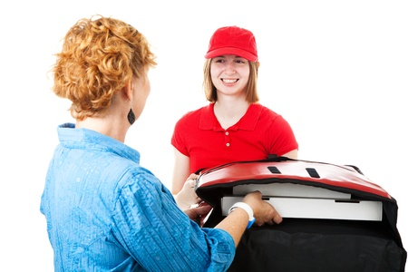 first job: Teenage girl delivering pizza to a hungry customer   Isolated on white