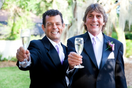 Handsome gay wedding couple toasting their marriage with champagne