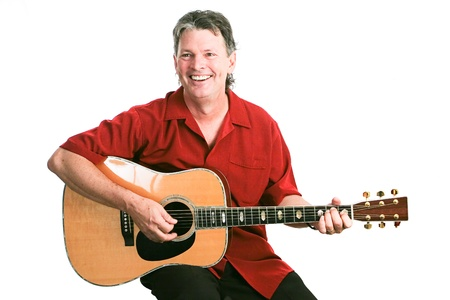 fingering: Handsome mature guitarist performing against a white background.