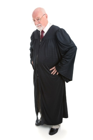 Serious judge, full body, isolated on white.   photo