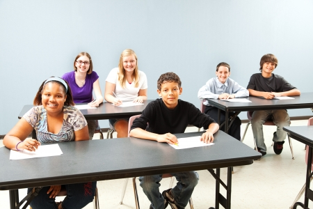 public school: Classroom of diverse students.  Wide shot with plenty of room for text.   Stock Photo
