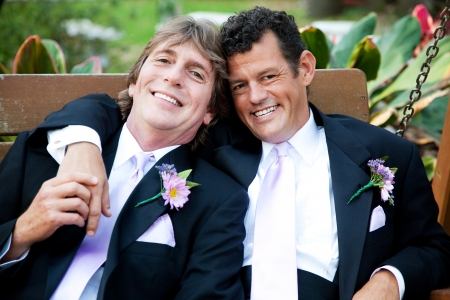 Handsome gay couple relaxing on a swing at their wedding reception.   Stockfoto