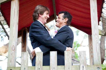 boda gay: Feliz pareja gay se casa en el patio de un parque.