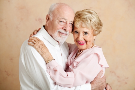 Portrait of beautiful couple in their eighties, still in love    photo