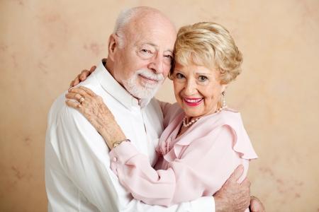 eighties: Portrait of beautiful couple in their eighties, still in love    Stock Photo