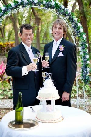 boda gay: Pareja gay guapo brindando con champán en la recepción al aire libre hermoso de la boda. Foto de archivo