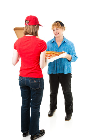 first job: Customer gets pizza delivered.  Full body isolated on white.